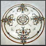 Inlay on marble - Florida Medallion on Perlatto